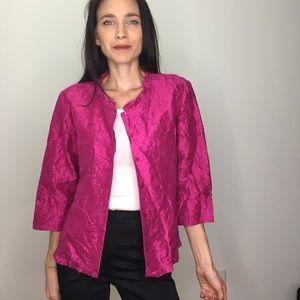 Eileen Fisher Magenta Pink Crinkle Silk Cardigan